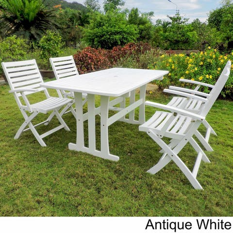 International Caravan Royal Fiji 'Ispica' Stained Acacia Hardwood Outdoor Dining Set (Set of 5)