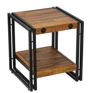 Cortesi Home Penni Reclaimed Wood and Metal End Table