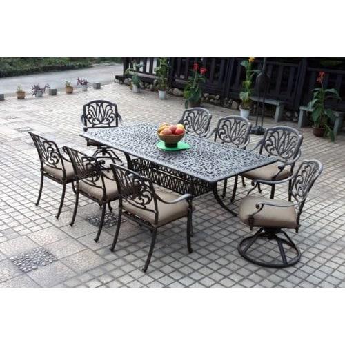 Gracewood Hollow Ayn Bronze Cast Aluminum Rectangular 9 Piece Dining Set