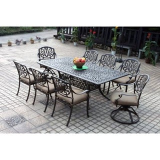 Gracewood Hollow Ayn Bronze Cast Aluminum Rectangular 9-piece Dining Set