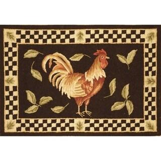 Safavieh Hand-hooked Vintage Posters Black / Ivory Wool Rug (2' x 3')
