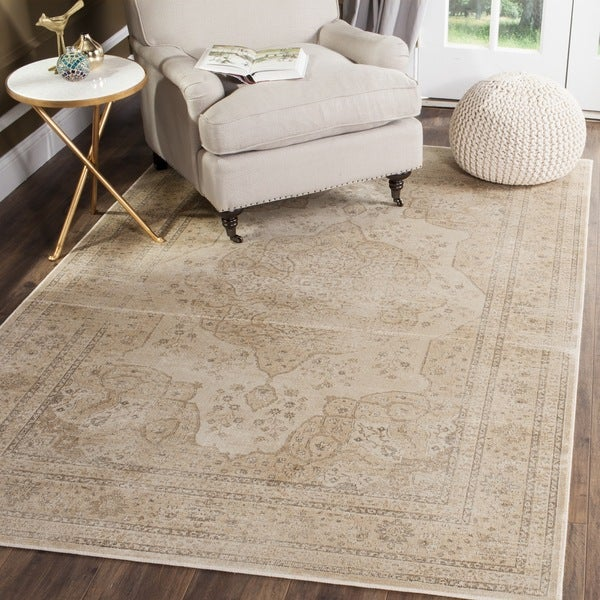 Safavieh Vintage Oriental Cream Distressed Silky Viscose Rug - 2' x 3'