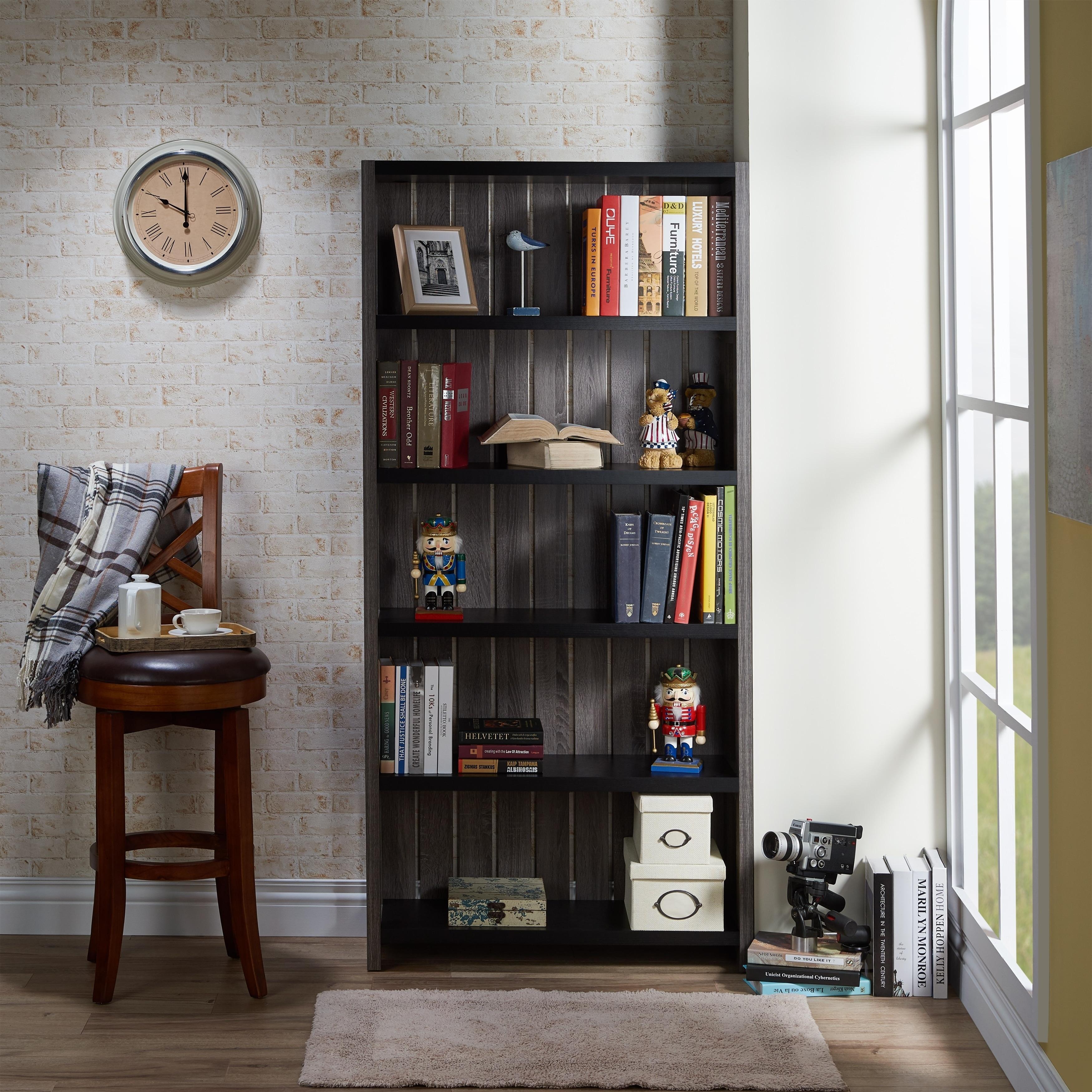 Furniture Of America Pend Transitional Grey 5 Shelf Slatted Bookcase
