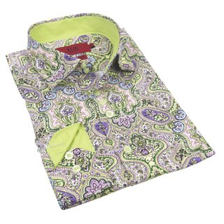 Elie Balleh Milano Italy Boys' 2016 Style Green/Multicolor Cotton Slim-fit Shirt