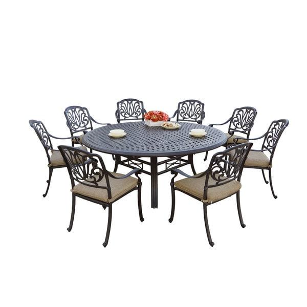 darlee elisabeth antique bronze cast aluminum round 9 piece dining set free shipping today. Black Bedroom Furniture Sets. Home Design Ideas