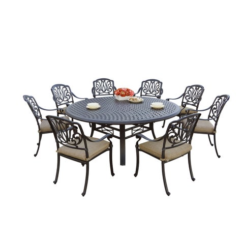 Gracewood Hollow Shonagon Antique Bronze Cast Aluminum Round 9-piece Dining Set