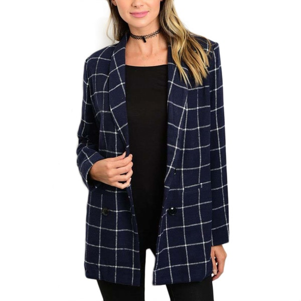 JED Women's Navy Blue Plaid Blazer with Double-button Closure