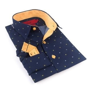 Elie Balleh Milano Italy Boy's Blue Rayon/Polyester Slim-fit Shirt