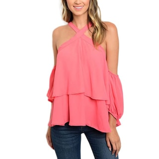 JED Women's Polyester Off-the-shoulder Ruffle Halter Top