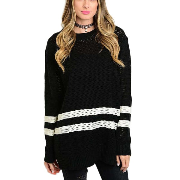 28316c062d5 Shop JED Women's Black Acrylic Loose-fit Sweater with Ivory Stripes - Free  Shipping On Orders Over $45 - Overstock - 12650274