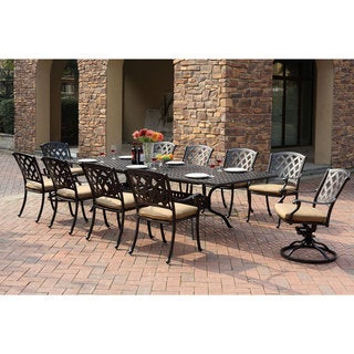 Darlee Ocean View Antique Bronze Cast Aluminum Rectangular Extension  11 Piece Dining Set