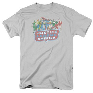 DC/JLA Lineup Short Sleeve Adult T-Shirt 18/1 in Silver