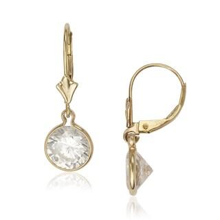 14k Yellow Gold Bezel Brilliant Cubic Zirconia Drop Dangle Leverback Earrings