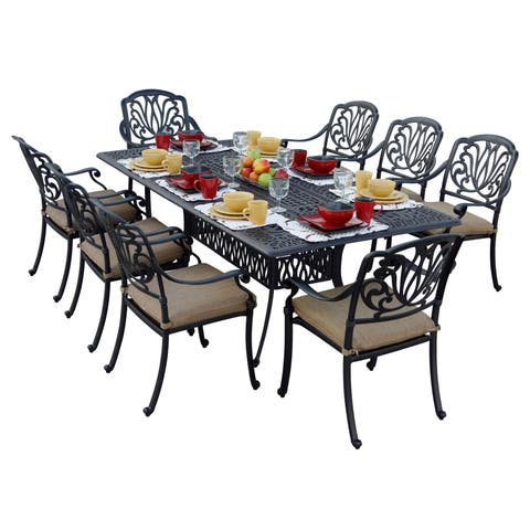 Havenside Home Carmel Cast Aluminum Rectangular 9-piece Dining Set