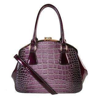 Rimen & Co. Patent Polyurethane Leather Shiny Structure Satchel Handbag