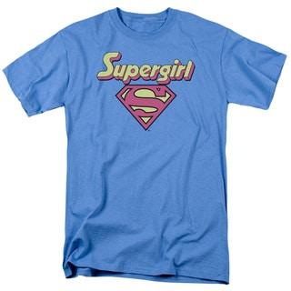 DC/I'M A Supergirl Short Sleeve Adult T-Shirt 18/1 in Carolina Blue