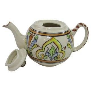 Handmade Stoneware Salvena Round Teapot (Tunisia)