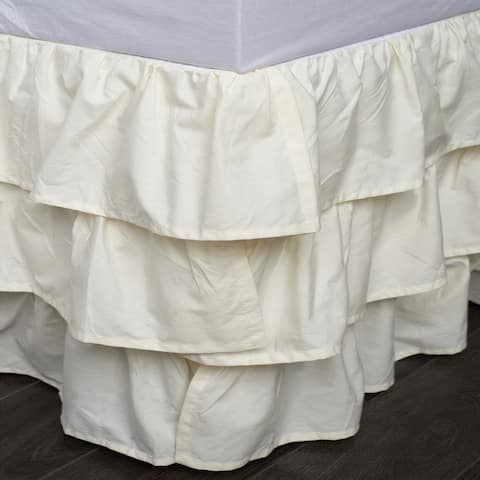 French Ruffle Ivory Cotton 18-inch Drop 3 Piece Tuck in Bed Skirt