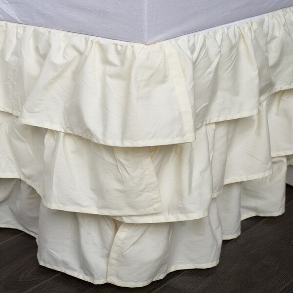 French Ruffle Ivory Cotton 18-inch Drop Bed Skirt