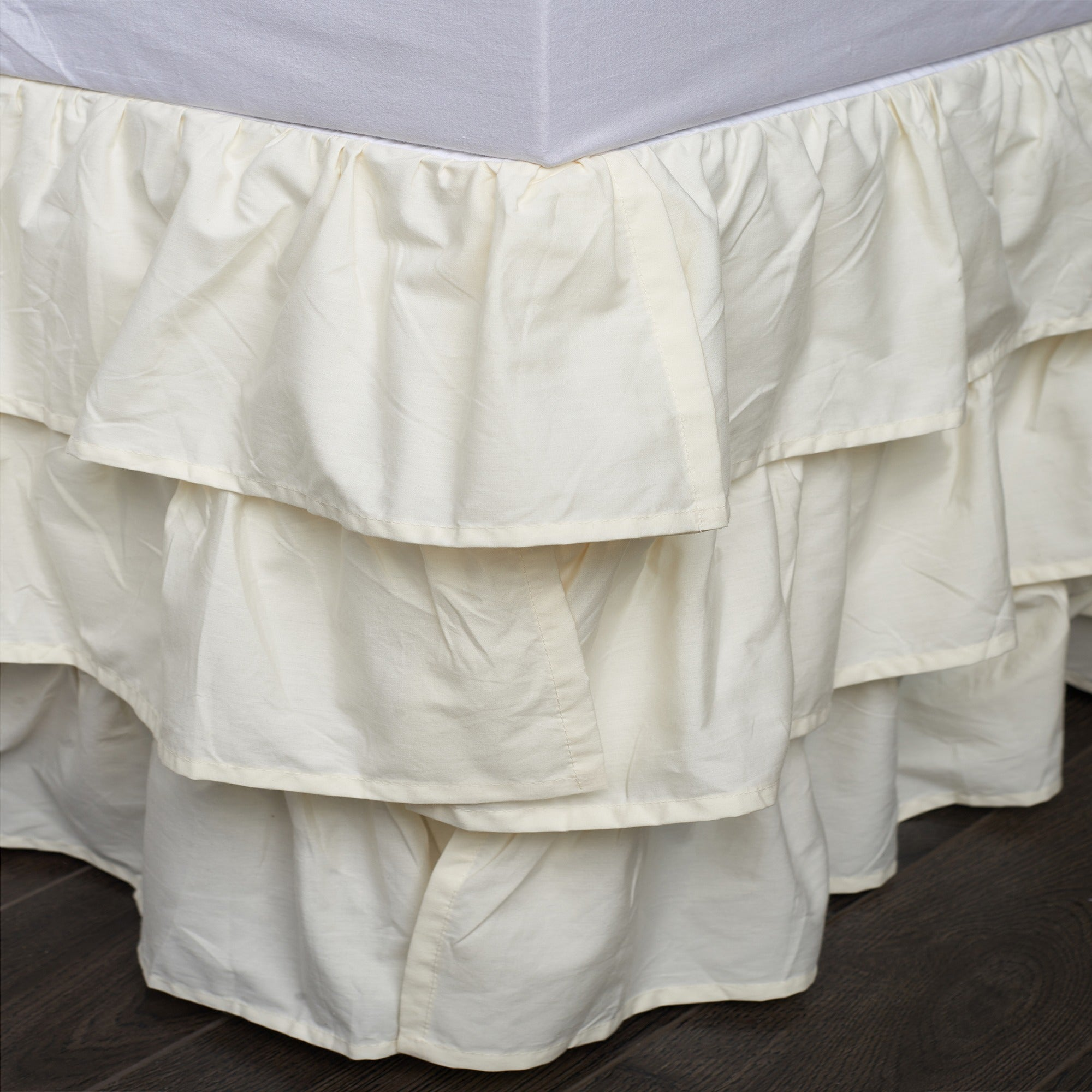 Cottage Home French Ruffle Ivory Cotton Bed Skirt (Full-I...