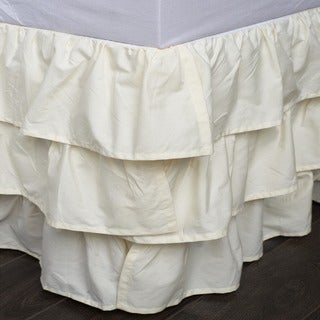 French Ruffle Ivory Cotton Bed Skirt
