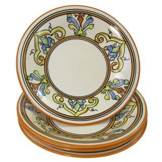 Handmade Set of 4 Le Souk Ceramique 'Salvena' Stoneware Pasta/Salad Bowls (Tunisia)