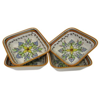 Handmade Set of 4 Stoneware Salvena Square Pasta/ Salad Bowls (Tunisia)