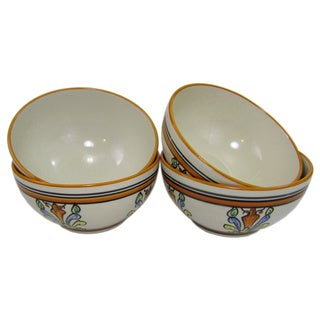 Handmade Set of 4 Le Souk Ceramique 'Salvena' Stoneware Soup/Cereal Bowls (Tunisia)