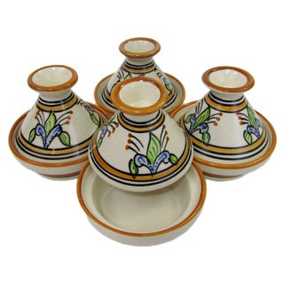 Handmade Set of 4 Le Souk Ceramique 'Salvena' Mini Stoneware Tagines (Tunisia)