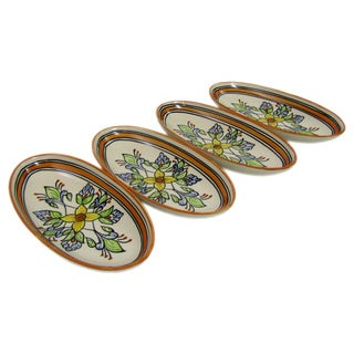 Set of 4 Le Souk Ceramique Salvena Small Stoneware Oval Platters (Tunisia)