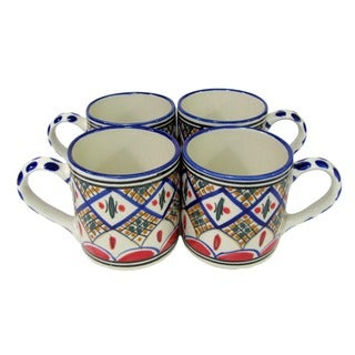 Set of 4 Le Souk Ceramique 'Tabarka' Stoneware Coffee Mugs (Tunisia)