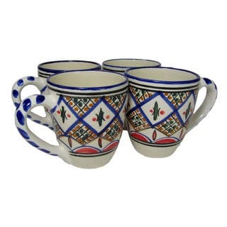 Set of 4 Le Souk Ceramique 'Tabarka' Stoneware Tea/ Espresso Cup and Saucer (Tunisia)