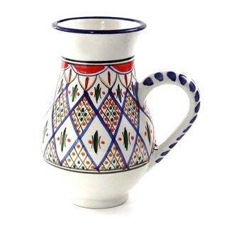 Le Souk Ceramique 'Tabarka' Large Stoneware Pitcher (Tunisia)