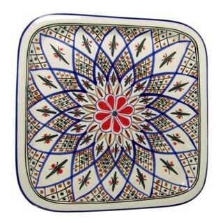 Le Souk Ceramique 'Tabarka' Square Stoneware Platter (Tunisia)