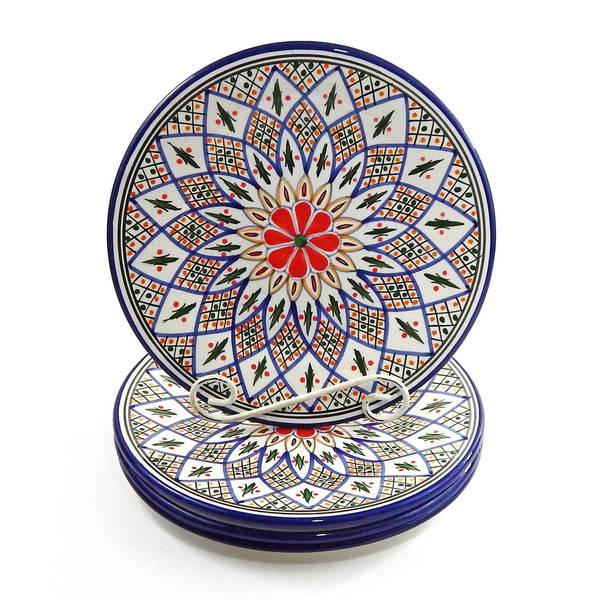 Handmade Set of 4 Le Souk Ceramique u0026#x27;Tabarkau0026#x27; Stoneware  sc 1 st  Overstock.com & Handmade Set of 4 Le Souk Ceramique u0027Tabarkau0027 Stoneware Dinner ...