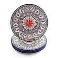 Handmade Set of 4 Le Souk Ceramique 'Tabarka' Stoneware Dinner Plates (Tunisia)