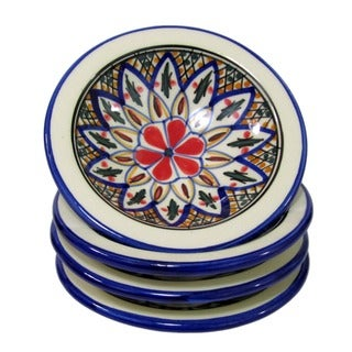 Set of 4 Le Souk Ceramique 'Tabarka' Round Stoneware Sauce Dishes (Tunisia)