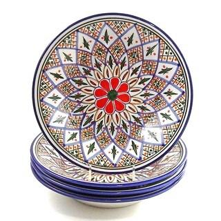 Set of 4 Le Souk Ceramique 'Tabarka' Stoneware Pasta/ Salad Bowls (Tunisia)