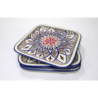 Set of 4 Le Souk Ceramique 'Tabarka' Square Stoneware Plates (Tunisia)
