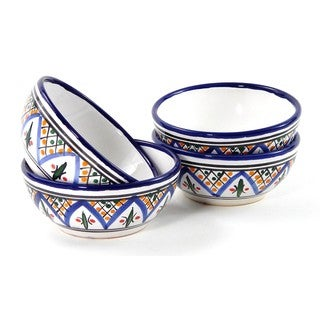 Set of 4 Le Souk Ceramique 'Tabarka' Stoneware Deep Sauce/ Ice Cream Bowls (Tunisia)