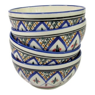 Set of 4 Le Souk Ceramique 'Tabarka' Stoneware Soup/ Cereal Bowls (Tunisia)