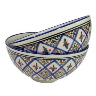 Set of 2 Le Souk Ceramique 'Tabarka' Medium Stoneware Deep Serve Bowls (Tunisia)