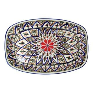 Le Souk Ceramique 'Tabarka' Rectangular Stoneware Platter (Tunisia)