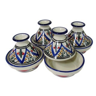Set of 4 Le Souk Ceramique 'Tabarka' Mini Stoneware Tagines (Tunisia)