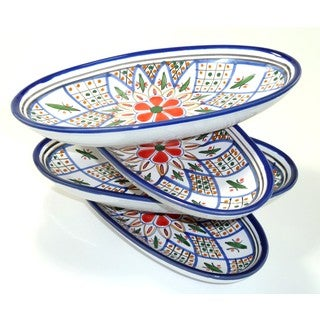 Set of 4 Le Souk Ceramique 'Tabarka' Small Stoneware Oval Platters (Tunisia)