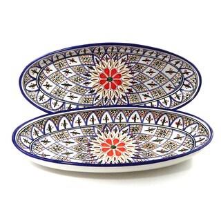 Handmade Set of 2 Le Souk Ceramique 'Tabarka' Large Stoneware Oval Platters (Tunisia)