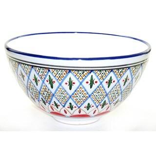 Le Souk Ceramique 'Tabarka' Deep Stoneware Salad Bowl (Tunisia)
