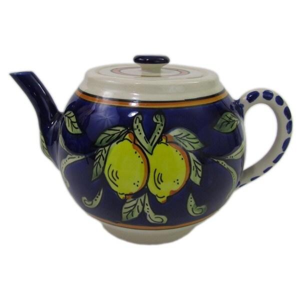 Handmade Le Souk Ceramique 'Citronique' Stoneware Teapot (Tunisia)