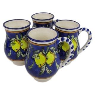 Set of 4 Le Souk Ceramique Citronique Design Large Stoneware Mugs (Tunisia)