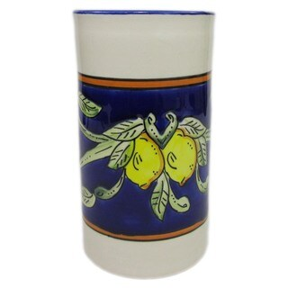 Handmade Le Souk Ceramique Citronique Design Stoneware Utensil/Wine Holder (Tunisia)